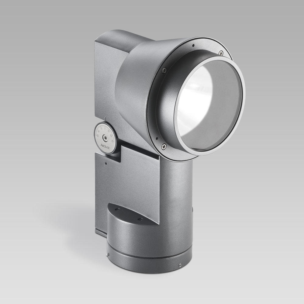 Floodlight for outdoor lighting DUEVENTI, adjustable and powerful, perfect for facade lighting and for architectural environments