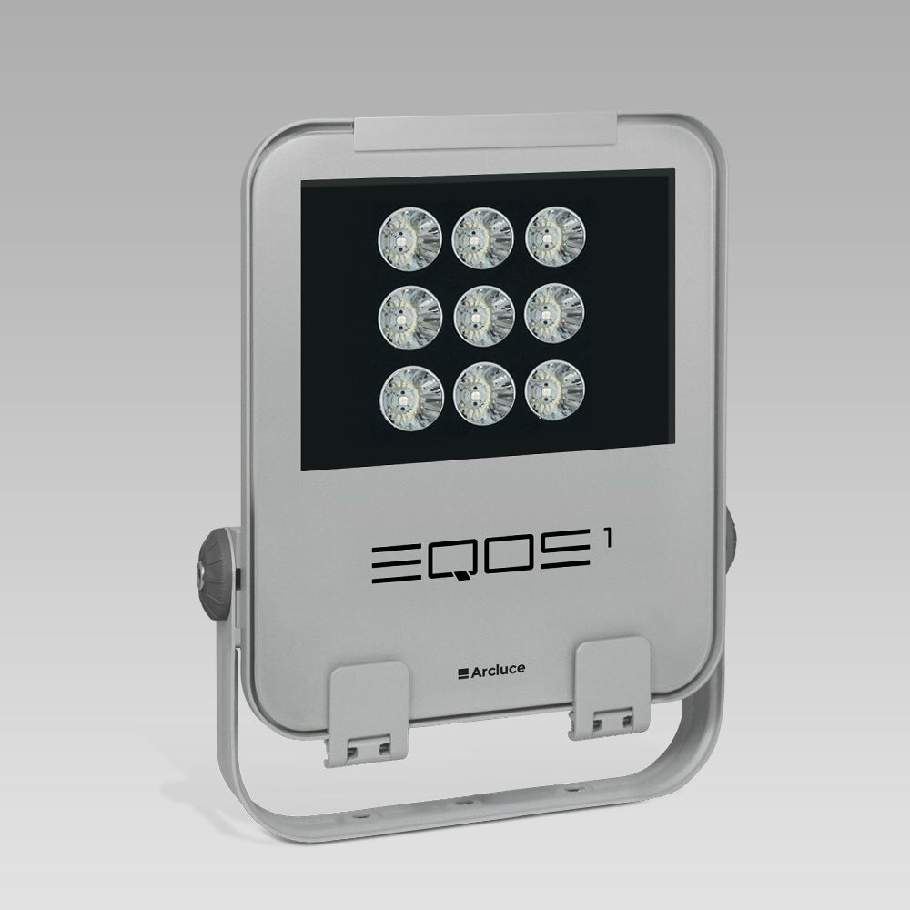 LED floodlight for outdoor lighting EQOS1, for professional use: modern design, excellent light output and energy efficiency