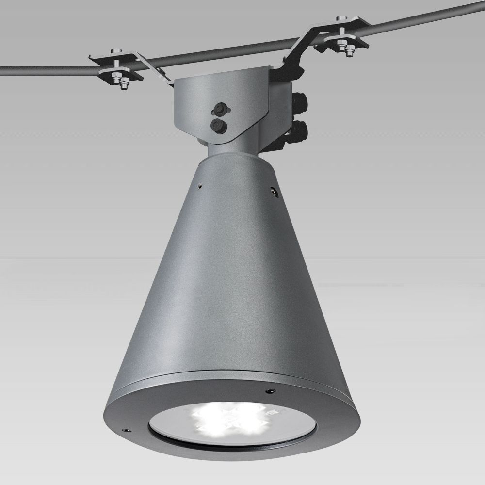 Urban lighting catenary luminaire with a classic conical-shape design
