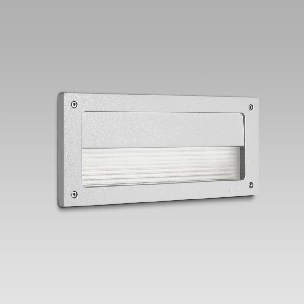 Wall recessed steplight for functional lighting of outdoor areas featuring a rectangular design