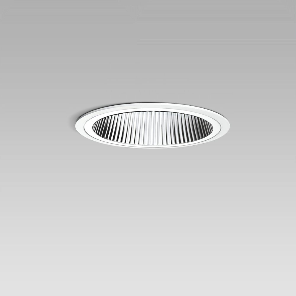 Recessed downlights  Ceiling recessed luminaire for indoor lighting with elegant round design, requiring a short installation depth