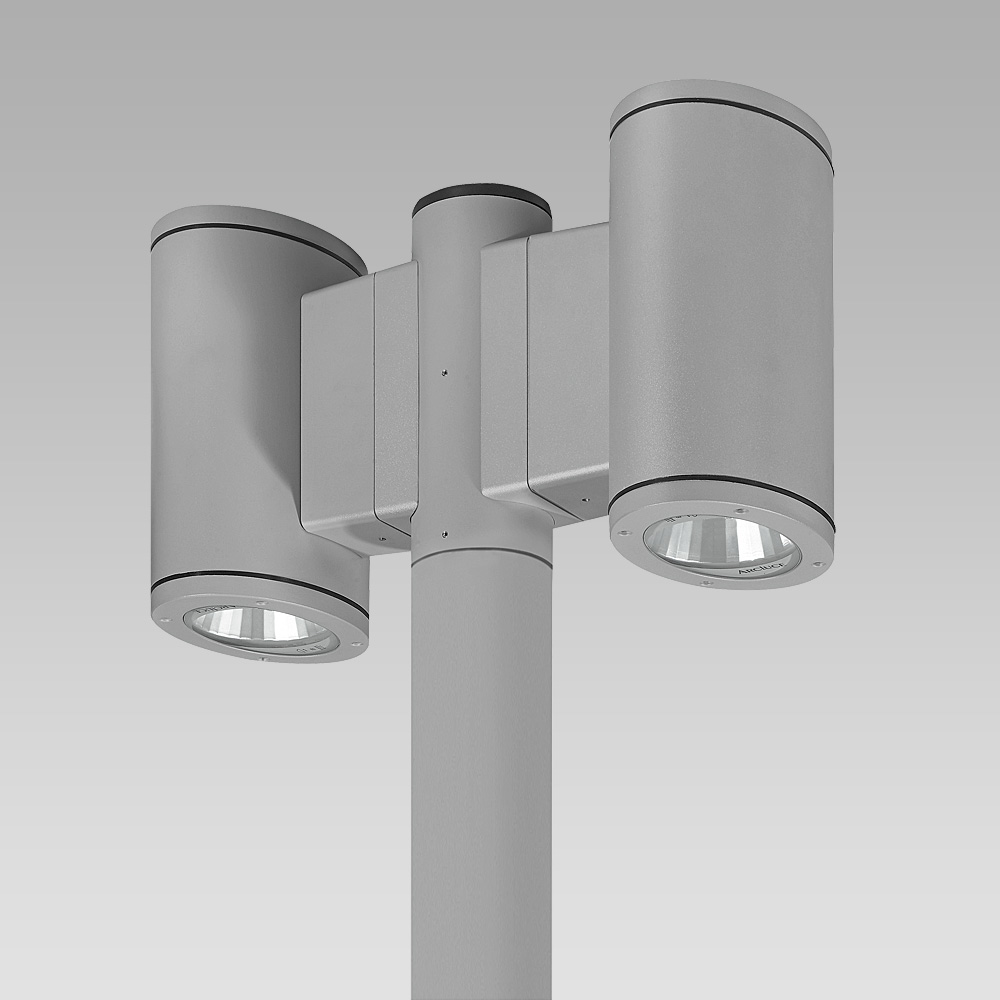 Urban lighting luminaire featuring a contemporary design