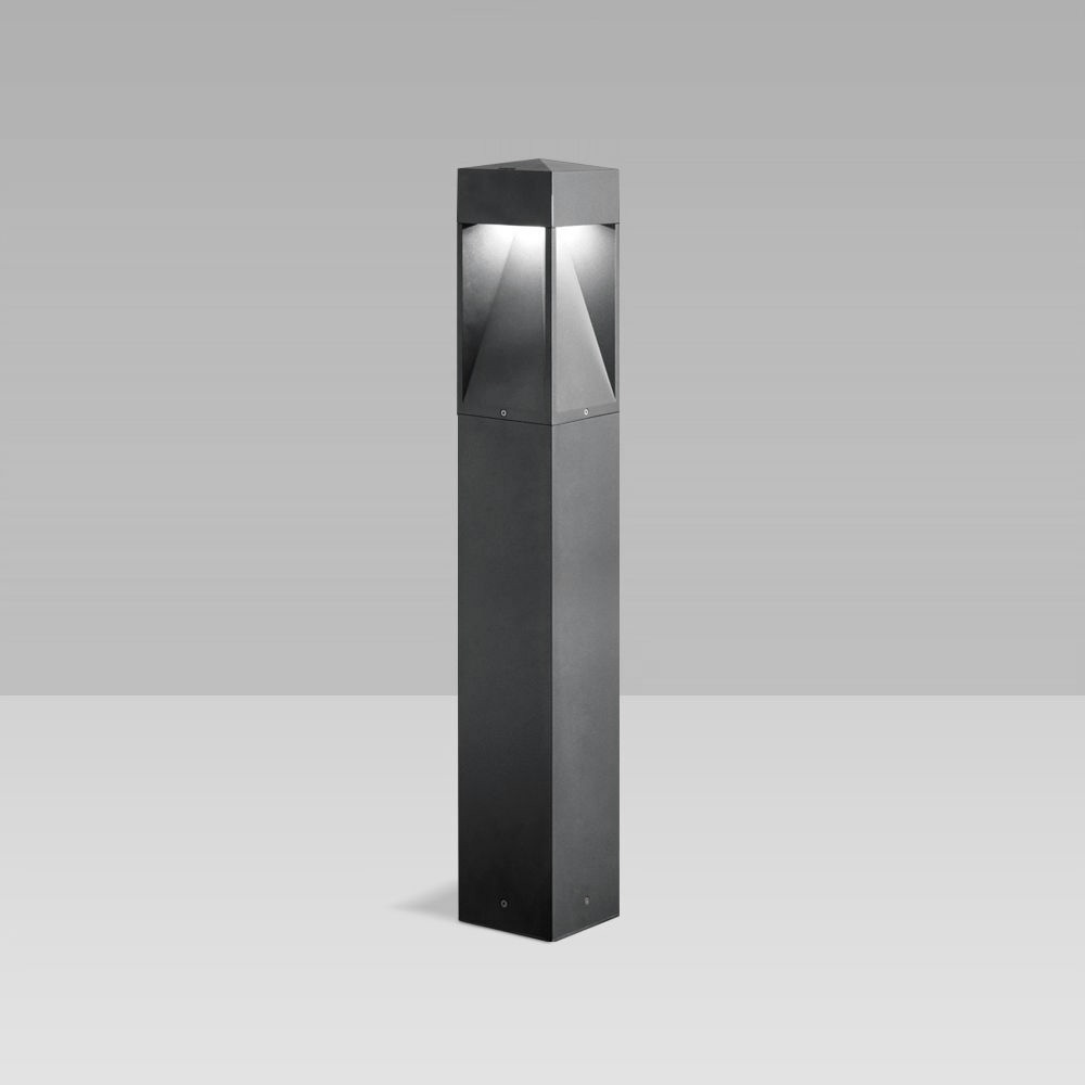 Bollard light for outdoor lighting featuring a unique, gothic design, with two-way, three-way or radial optic and maximum visual comfort