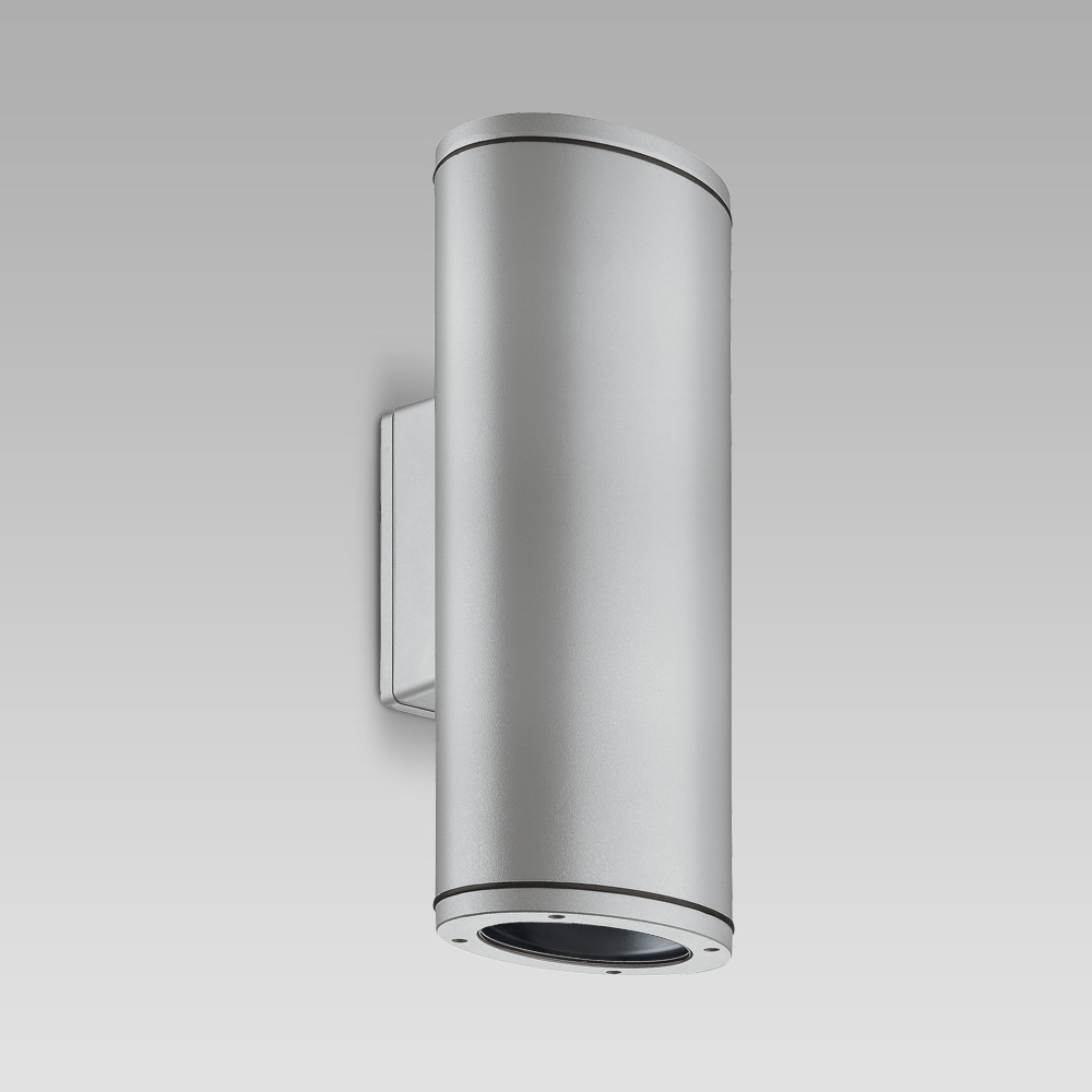 Luminaire for facade lighting with bidirectional optic, featuring an elegant elliptic design