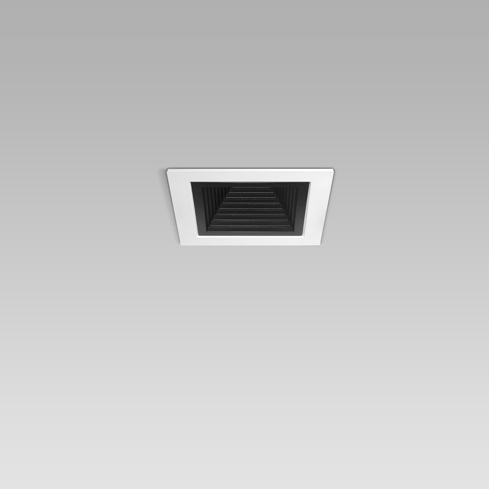 Recessed downlights  Ceiling recessed luminaire for indoor lighting with small size and elegant squared design, with black or metalized optic